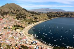 Copacabana harbour on Titicaca lake Stock Image