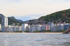 Copacabana Leme beach, favela, Rio de Janeiro Royalty Free Stock Photos