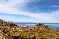 Copacabana miasto na Titicaca jeziorze Obraz Stock