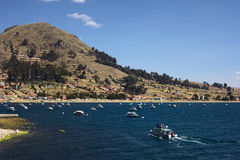 Copacabana på sjön Titicaca, Bolivia Royaltyfri Fotografi