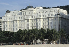 The Copacabana Palace hotel with the statue of Christ the Redeem Stock Photography