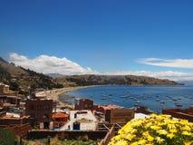 Copacabana plażowy i Jeziorny Titicaca Boliwia fotografia royalty free