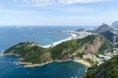 Copacabana, Rio de Janeiro aerial view, Brazil. Rio de Janeiro from Sugar Loaf Mountain in summer 2014. Arial view of Copacabana and Vermelha beaches Stock Photography