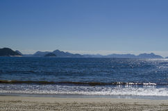 Copacabana sea and mountains. In Rio de Janeiro, Brazil Royalty Free Stock Images