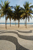 Copacabana sidewalk. In front of the beach royalty free stock photos