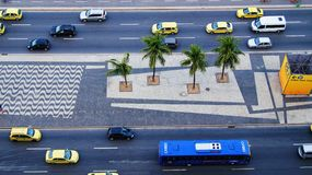 Copacabana Street Road View Cars Traffic Brazil Stock Images