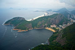 Copacabana from Sugarloaf mountain. A view at Copacabana beach from Sugarloaf mountain Royalty Free Stock Photos