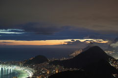 Copacabana sunset Royalty Free Stock Photo