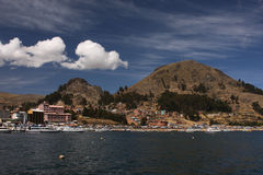 Copacabana town from the lake Royalty Free Stock Photos