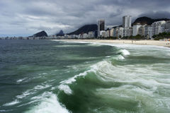 Copacabana. Waves of Atlantic ocean near Copacabana beach in Rio de Janeiro in Brasil. On background we can see building and mountains. The sky is full of clouds Royalty Free Stock Photo