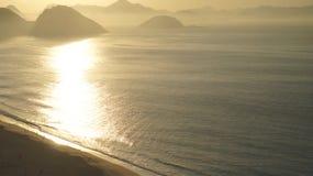 Copacabanastrand Rio De Janeiro Sunrise Seascape Stock Afbeeldingen