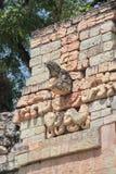 Copan,洪都拉斯:在局面法院的偶象金刚鹦鹉型标志 免版税库存图片