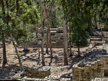 Copan arkeologisk plats av Mayan civilisation, inte långt från gränsen med Guatemala Det var huvudstaden av det huvudsakliga klas arkivfoton