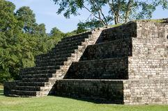 Copan-pyramide in light and shadow. Mayan pyramide at the gran plaza in copan, honduras, first visited 1841 from the american scientist stephens and the Royalty Free Stock Photos