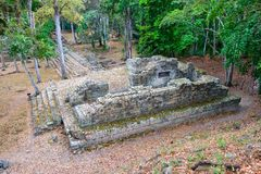 Copan Ruins Ancient Maya Civilization Temple Archeological Site Honduras. World Famous Copan Ruins Archeological Site of ancient Maya Civilization, a UNESCO royalty free stock photo