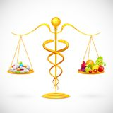 Coparing Fruit and Medical Capsule Royalty Free Stock Image