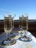 Copas de vino chispeantes Fotos de archivo libres de regalías