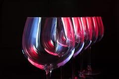 Copas de vino del club nocturno Foto de archivo