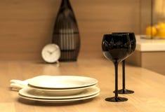 Copas de vino en negro, reloj, limones Fotos de archivo