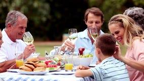 Copas de vino que tintinean de la familia almacen de video
