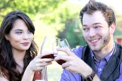 Copas de vino que tintinean de los pares Foto de archivo