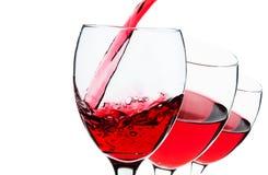 Copas de vino rojas Foto de archivo libre de regalías