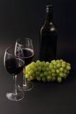 Copas de vino y botella con las uvas Fotos de archivo libres de regalías