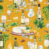 Copas de vino y botellas de la acuarela, uvas blancas, queso, corcho y sacacorchos Libre Illustration