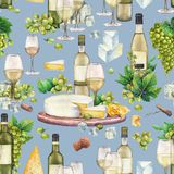 Copas de vino y botellas de la acuarela, uvas blancas, queso, corcho y sacacorchos Ilustración del Vector