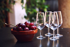 Copas de vino y uvas Fotografía de archivo libre de regalías
