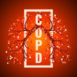 COPD day frame poster with lungs. COPD awareness frame poster with lungs filled with air bubbles on red background.  Chronic obstructive pulmonary disease symbol Royalty Free Stock Images