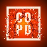 COPD frame poster. COPD awareness frame poster with lungs filled with air bubbles on red background.  Chronic obstructive pulmonary disease symbol. Medical Royalty Free Stock Image