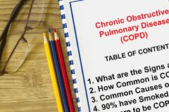 COPD and related lung disease concept. With table of contents on the topic of copd Stock Images