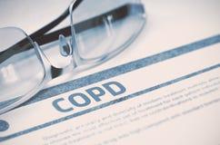 COPD - Utskrivaven diagnos stetoskop för pengar för begreppsliesmedicin set illustration 3d Royaltyfri Foto