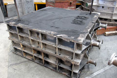 Cope and Drag Mold. Cope and Drag metal mold with sand for foundry process, Factory royalty free stock photography
