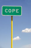 Cope Sign. Sign for the town of Cope, Colorado.  Use it for anything that applies to the words cope, coping, cope with, deal with, get by, face, handle, etc Royalty Free Stock Images
