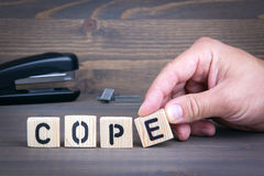Cope from wooden letters on wooden background.  Royalty Free Stock Photos
