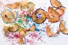 Copeaux colorés de crayon Photos libres de droits