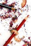 Copeaux de crayon d'isolement Photo libre de droits