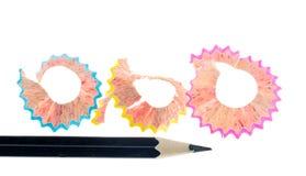 Copeaux de crayon d'isolement Image libre de droits