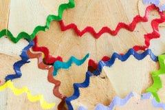 Copeaux de crayon de couleur Photographie stock