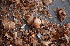 Copeaux en bois bouclés Image stock