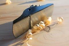 Copeaux plats et en bois en bois Image libre de droits