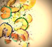 Copeaux Varicolored de crayon Images libres de droits