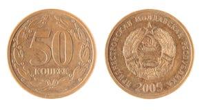 Copeck de la pièce de monnaie 50 de Moldau Images stock