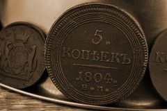 5 copecs 1804 años de la moneda rara rara del imperio ruso en la colección del anticuario Imagen de archivo