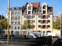 Copenaghen Danmark. Copenaghen in Danmark the river with a boat Royalty Free Stock Images