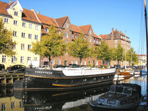 Copenaghen Danmark. Copenaghen in Danmark the river with the boats Royalty Free Stock Images