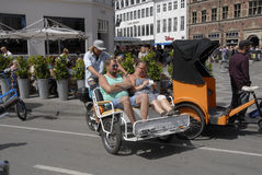 COPENAHGEN DISCOVER BY RICKSHAW Stock Photo