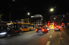 COPENAHGEN NIGHT TRFFIC Stock Image
